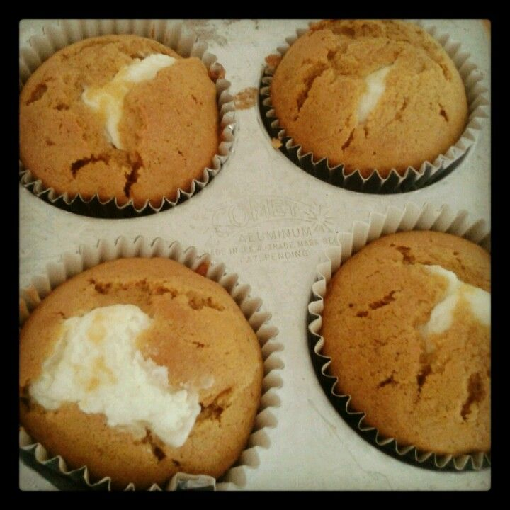Our homemade pumpkin muffins with cream cheese filling.