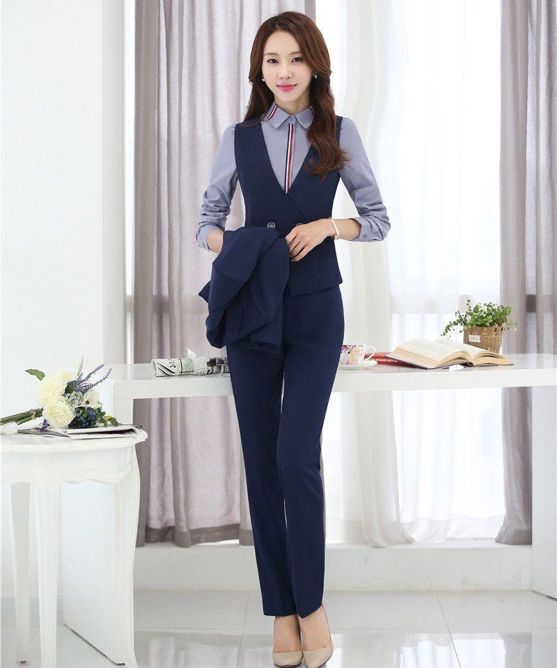 84d4fcbea99 Pantsuits Women Waistcoat   Vest 2 Piece Pant and Top Sets Formal Ladies Business  Suits Office Uniform Styles