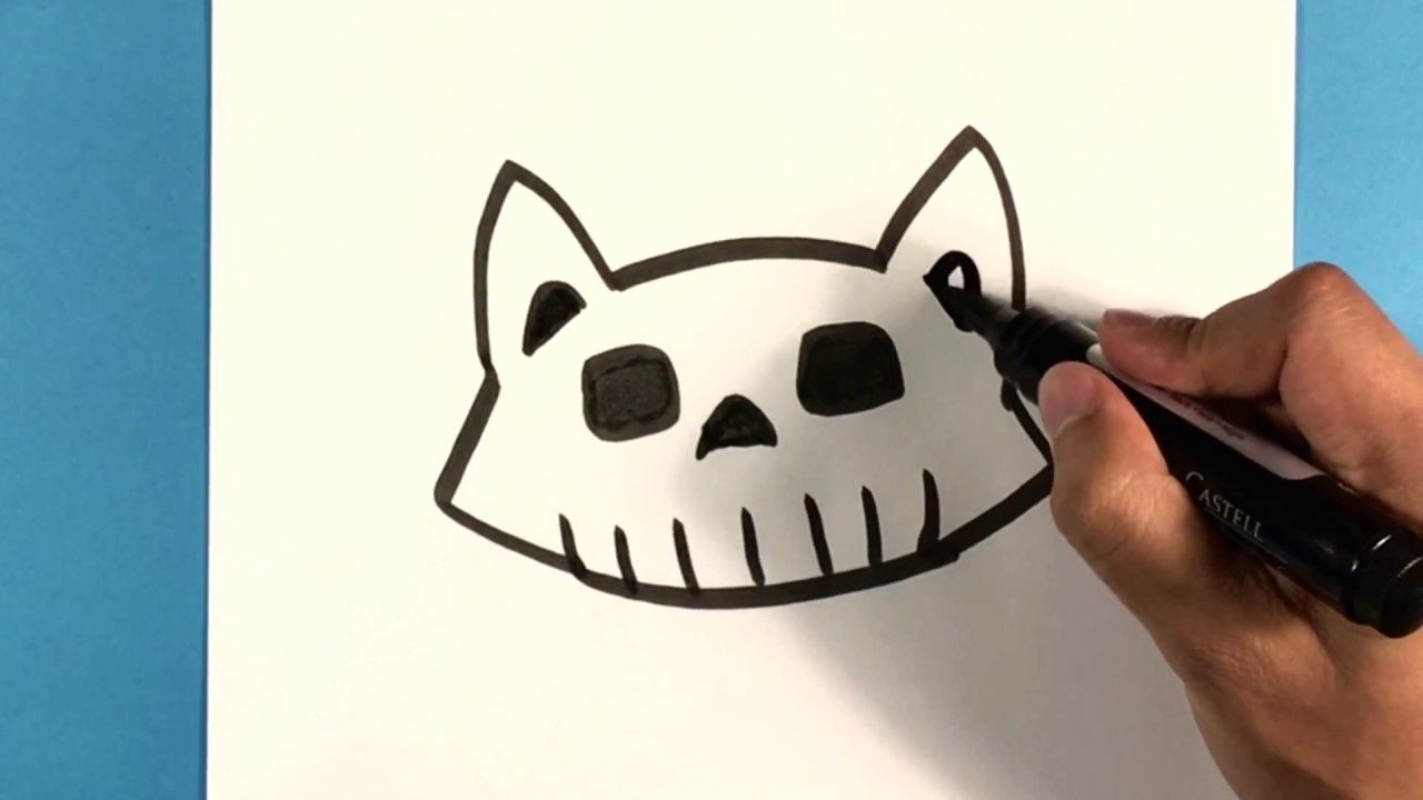 How To Draw Cat Skull Halloween Drawings Cute Animals To Draw