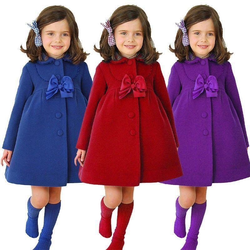 083960a0a 2018 Autumn Children Clothing Bow Girls Coats Woolen Baby Jacket ...