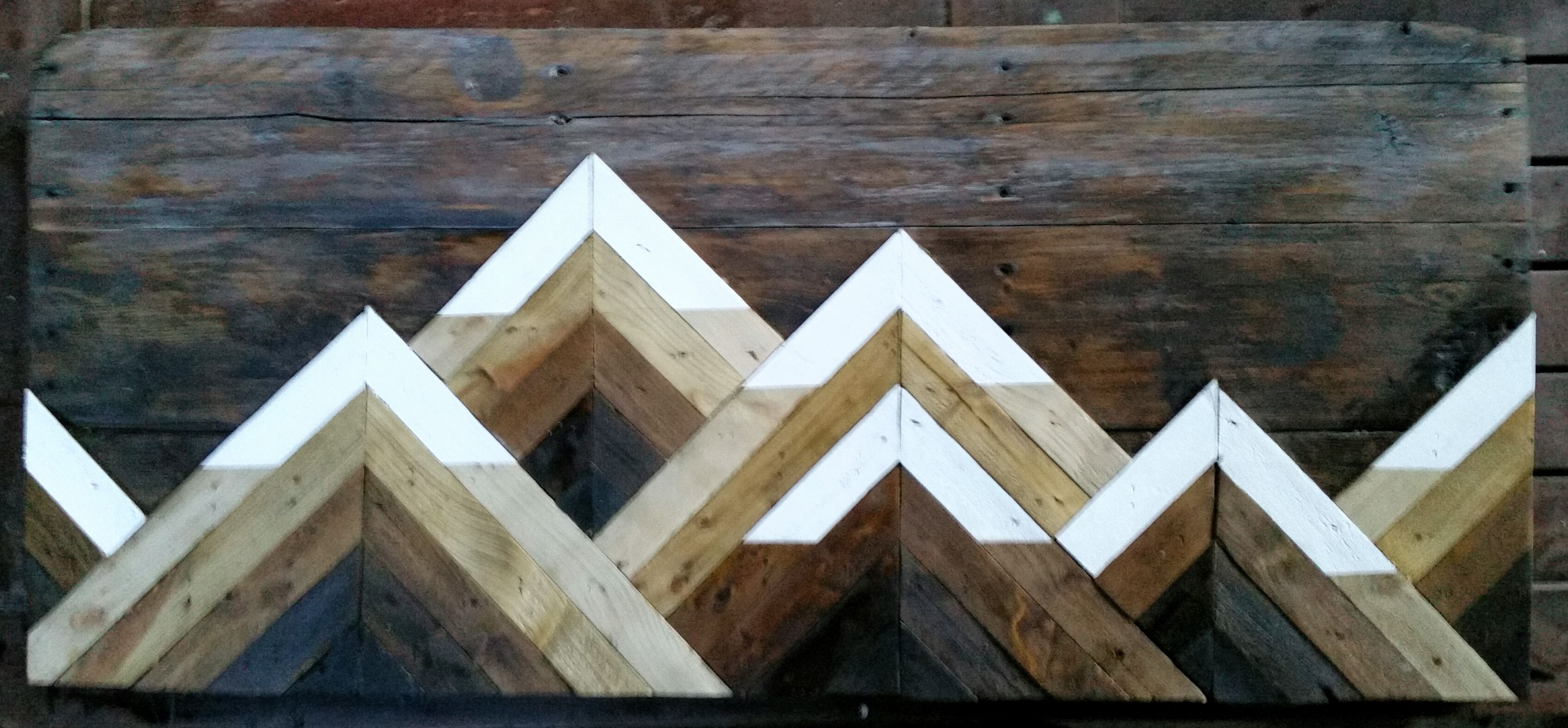 3d Geometric Snow Topped Mountain Range Using Wood Stains Reclaimed