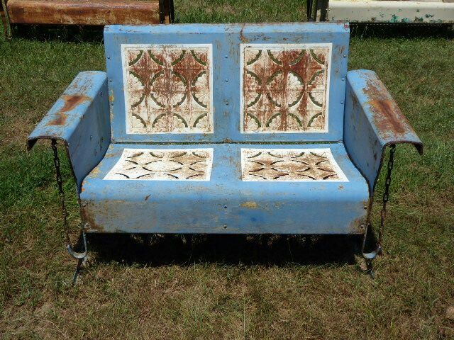 Vintage Metal Porch Glider Pie Crust Design Two Seater Glider Antique Rusty  Beautiful!