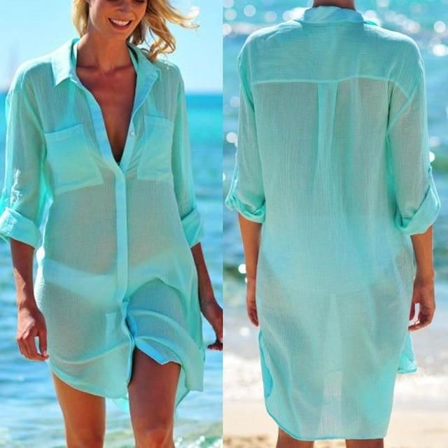 Beach Cover Up Robe Plage Pocket Swimsuit Cover Up Beach Shirt Tops Bathing Suit Women Beachwear