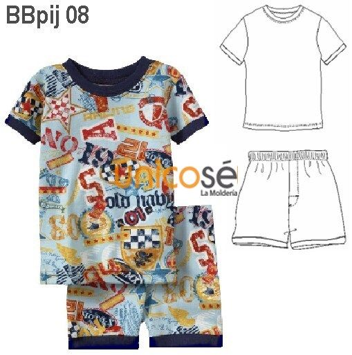 Pijama Corto Bebe Short Y Polera Manga Corta Impermeable Mujer