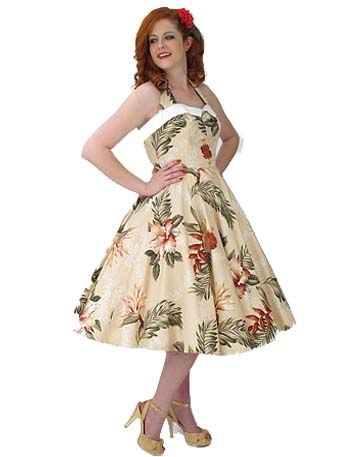 6c66e2a9ed  p Our pretty pin up style Coquette dress done in a stunning vintage  inspired Hawaiian tropical floral print. From our Classic Dame House Brand.