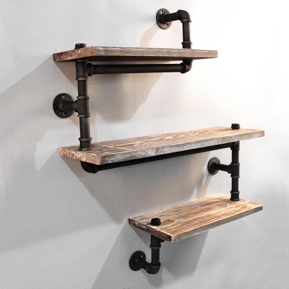 rustic industrial diy floating pipe shelf - 3 tier wall