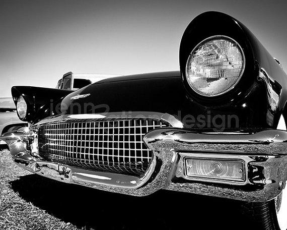 Ford Thunderbird, voiture classique, voiture photographie, T-Bird, Vintage, cadeau pour amateur de voiture, noir & blanc, Art de l'homme des cavernes, voiture photo Print