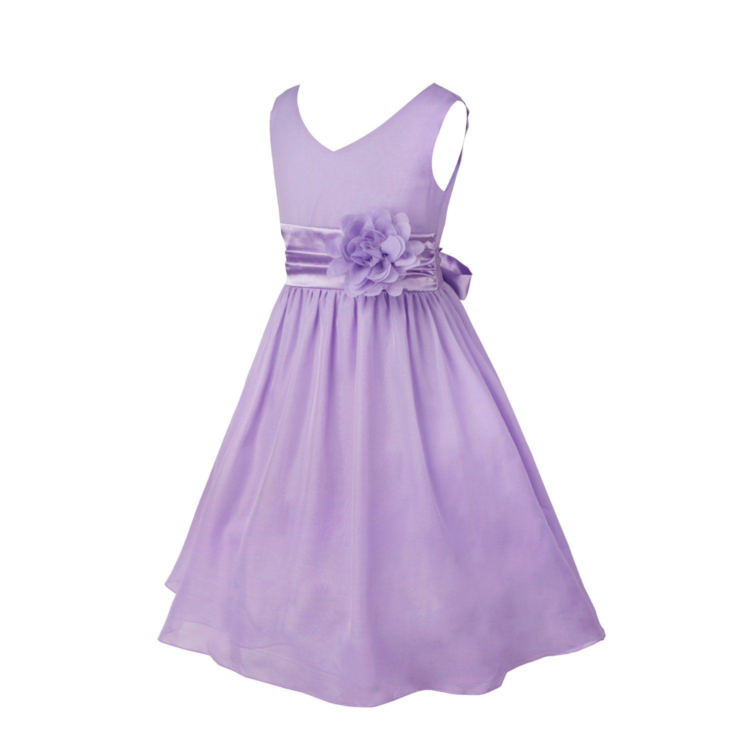 Lilac dress for wedding  TiaoBug Girls Party Dress Wedding Bridesmaid Pageant Chiffon Flower