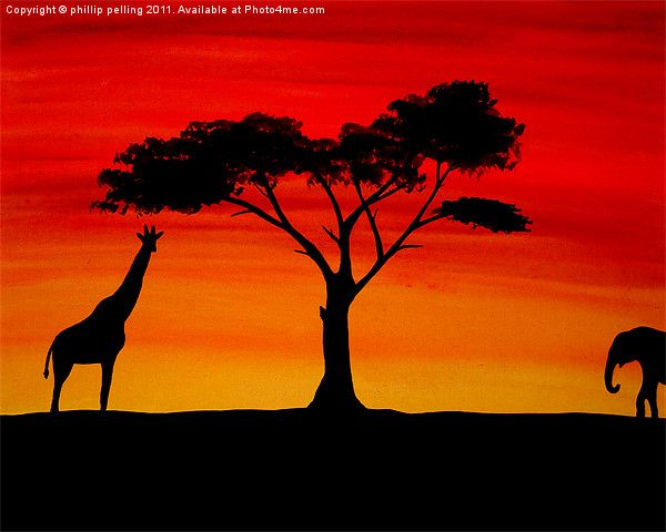 African Sunset Painting by