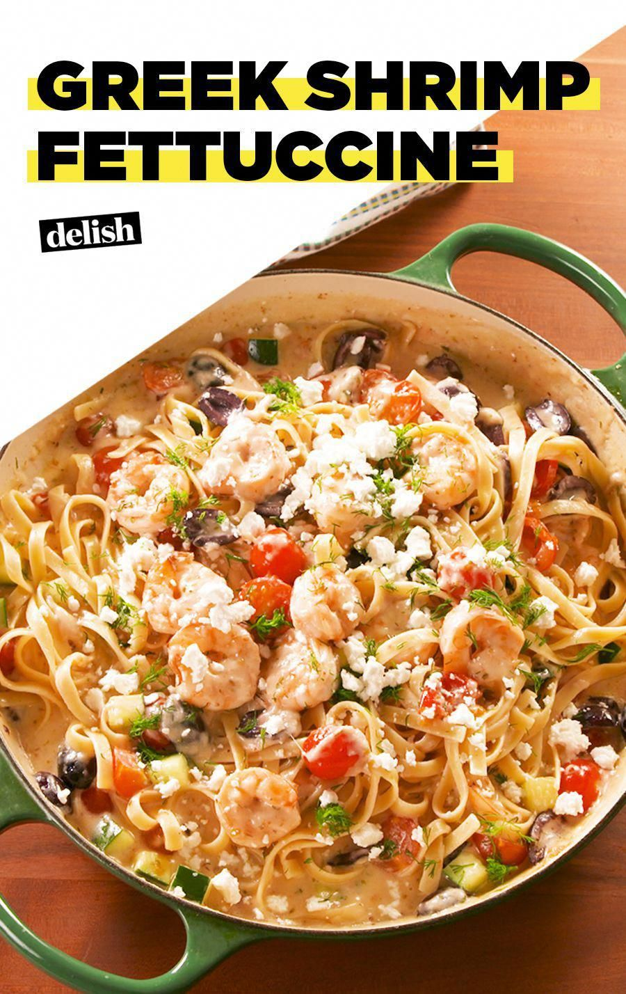 Greek Shrimp Fettuccine Is Full Of All Your Favorite Flavors from Delish #Recipes #QuickandEasy #Pasta #shrimprecipes #shrimpfettuccine