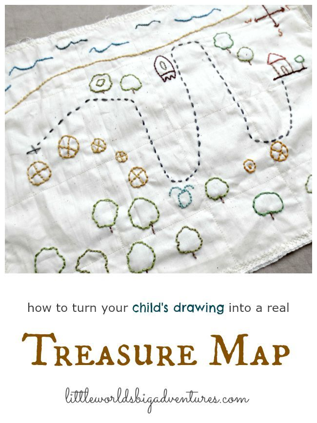Let children design their own treasure map and help them embroider it so it will last for years. Great idea for encouraging imaginative play and/or introducing hand sewing! | Little Worlds Big Adventures #treasuremap #embroidery #pretendplay #diy