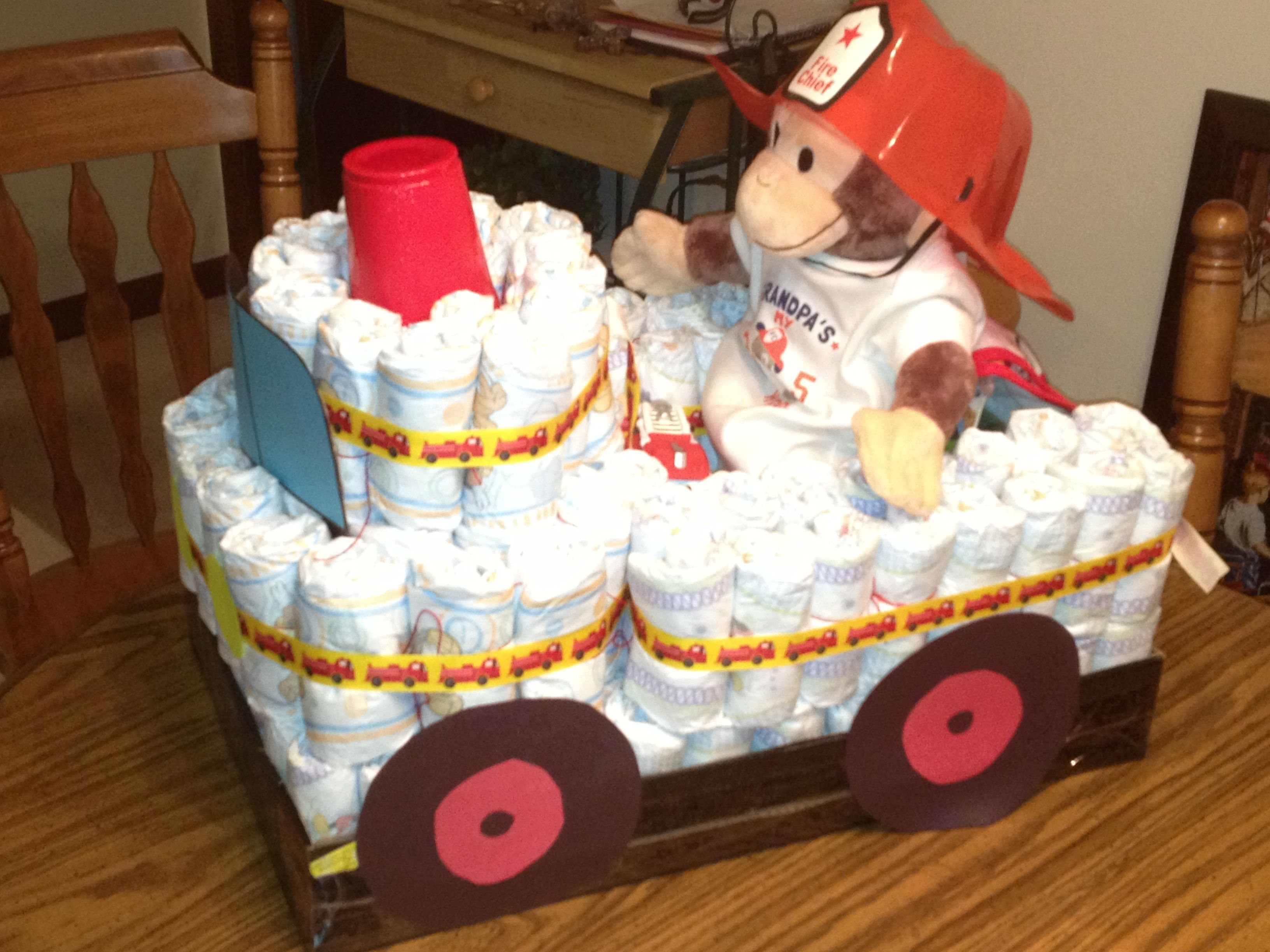 Diaper Pyramid For Baby Shower Part - 18: Diaper Fire Truck...Heather And I Made This For Marandau0027s Baby Shower(