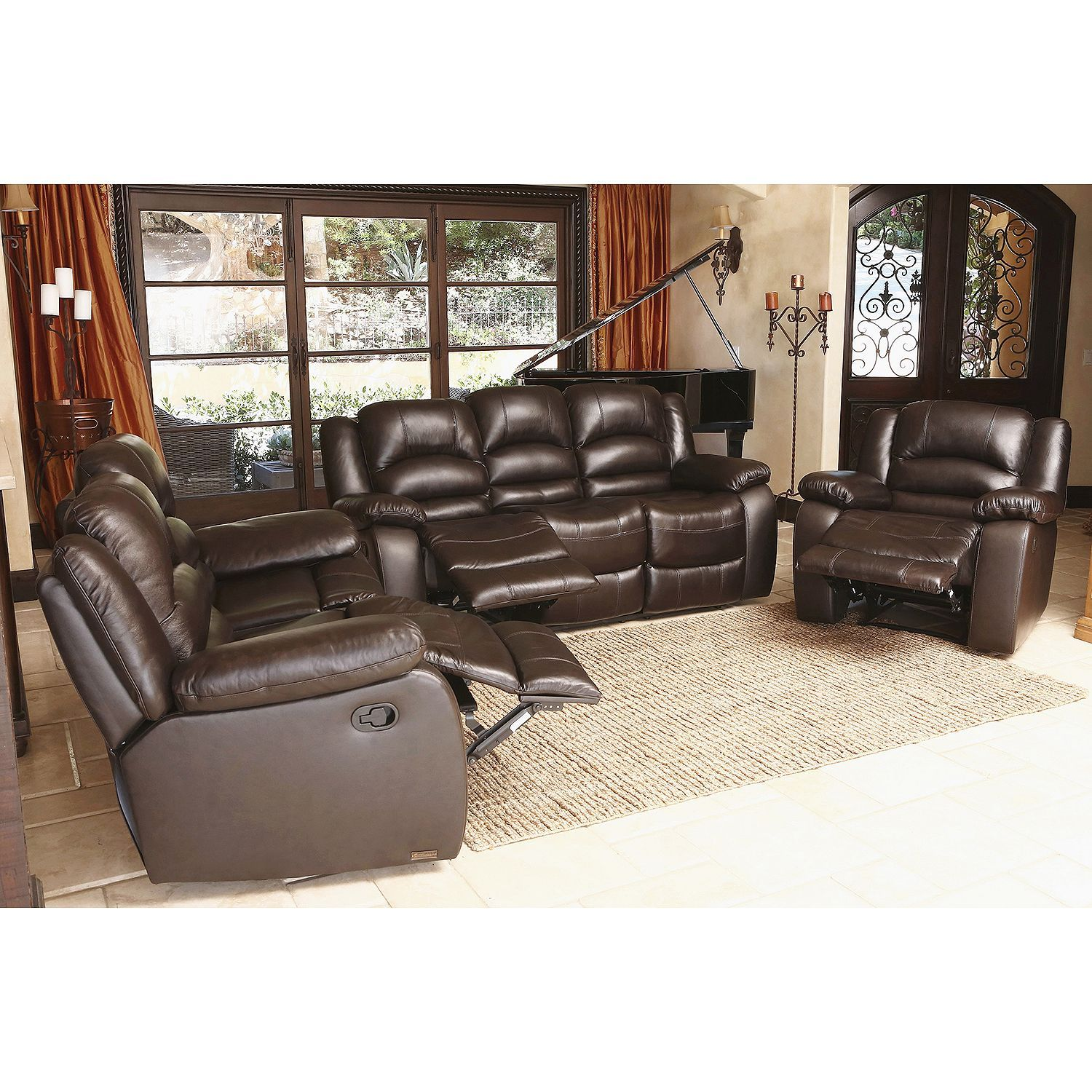 sams club living room furniture how to decorate a with dark leather verona top grain reclining sofa loveseat and chair set sam s