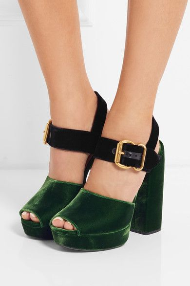 dc694396598ec Heel measures approximately 130mm/ 5 inches with a 25mm/ 1 inch platform  Green and black velvet Buckle-fastening ankle strap Made in Italy