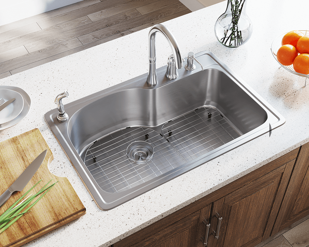 T346 Offset Single Bowl Topmount Stainless Steel Sink In 2020