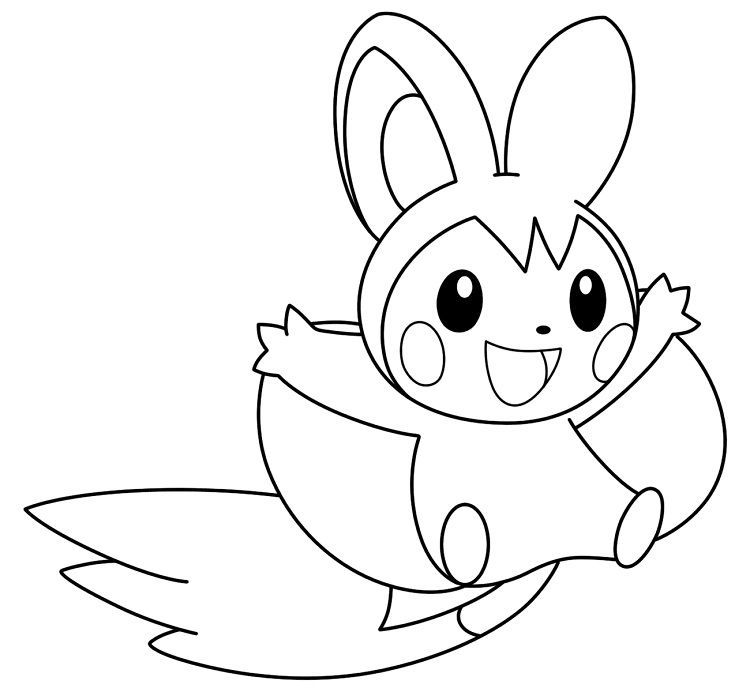 Pokemon Coloring Pages Emolga From New Picts Category
