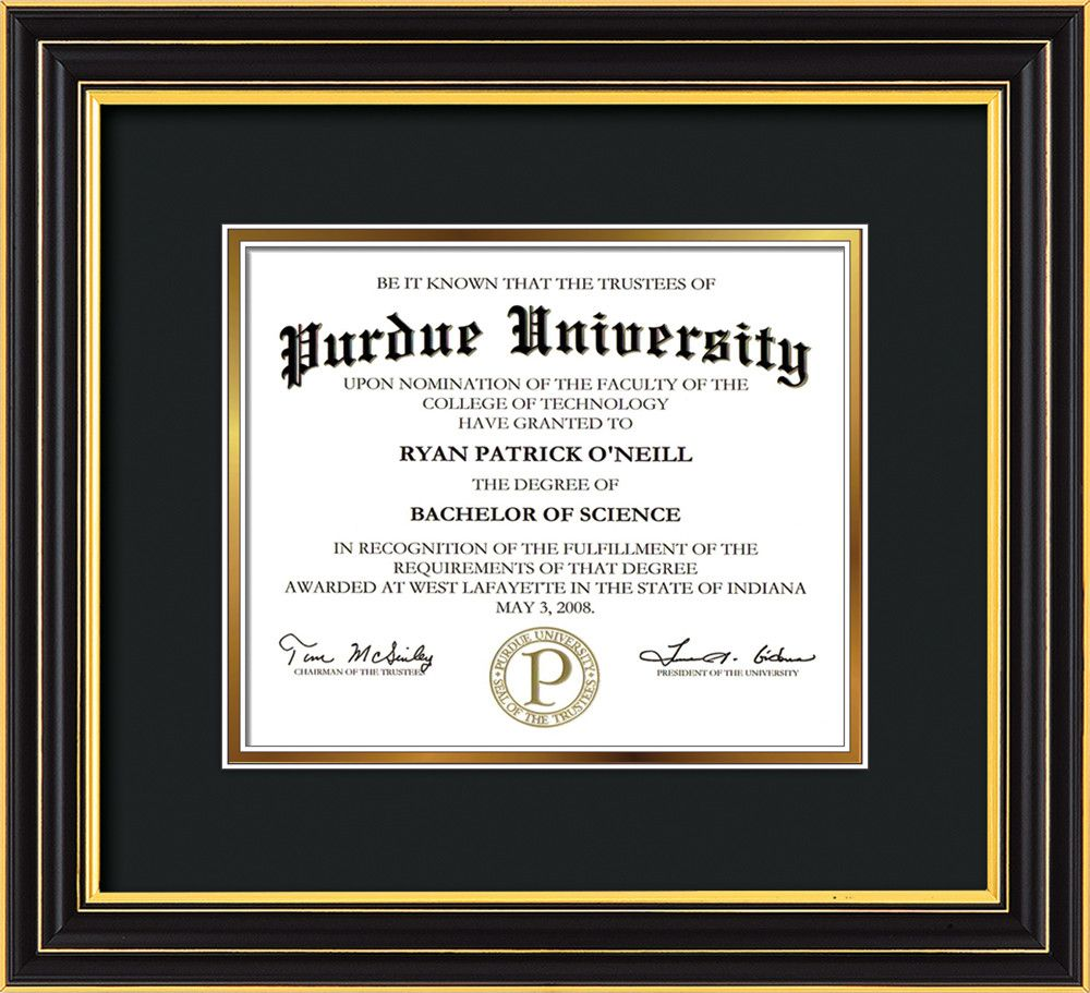 Purdue University Diploma Frame-Satin Black-No Embossing-Black on ...