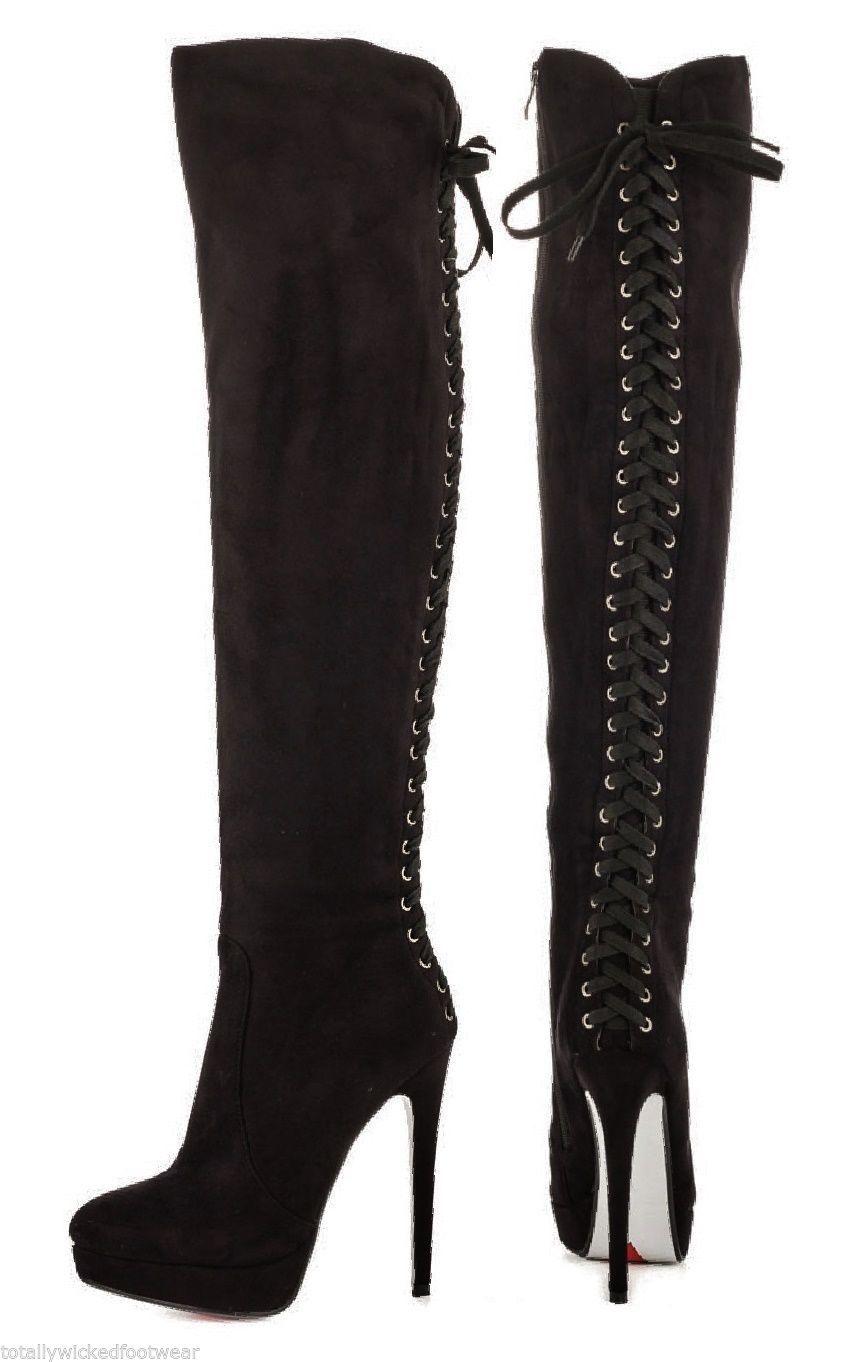 3a8dd90d8e1 Luichiny Ladies Nite Black Platform Designer Lace Up Back Thigh Boot 5