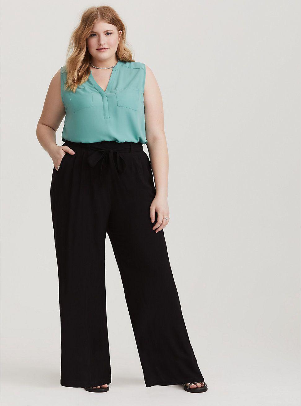 Tie Waist Wide Leg Pant Black Challis Wide Leg Trousers Outfit Wide Leg Pants Outfit Plus Size Business Attire