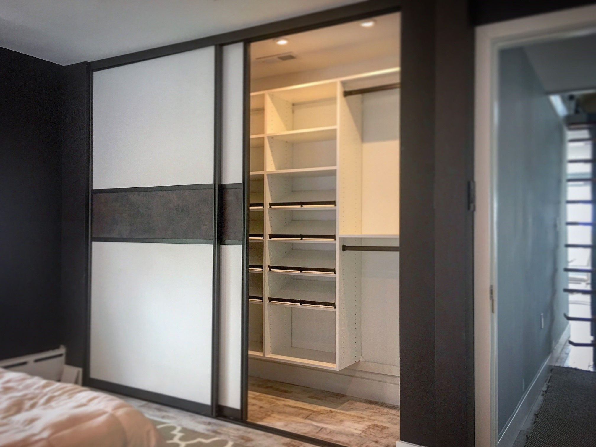 California Closets Reach In With Double Sliding Doors Lago Finish Bellissima White Oil Rubbed Bronze Hardware Tesoro Maya Insert