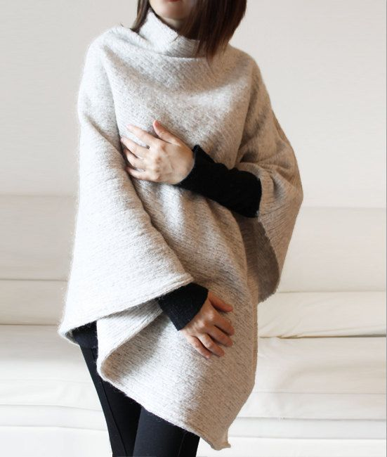 Wool sweater cape, white cream knitted poncho, asymmetric sweater ...