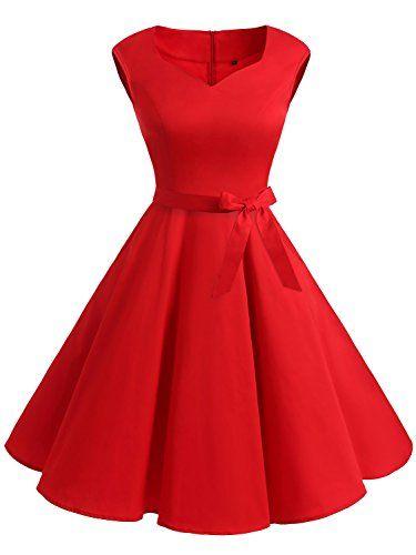 e9f25d31f76 IVNIS Elégant Robe Vintage années 50 60 avec Poches Robe d Audrey Hepburn  Rockabilly Swing Robe de soirée Cocktaile cérémonie Robe de Bal sans Manche  Robe ...