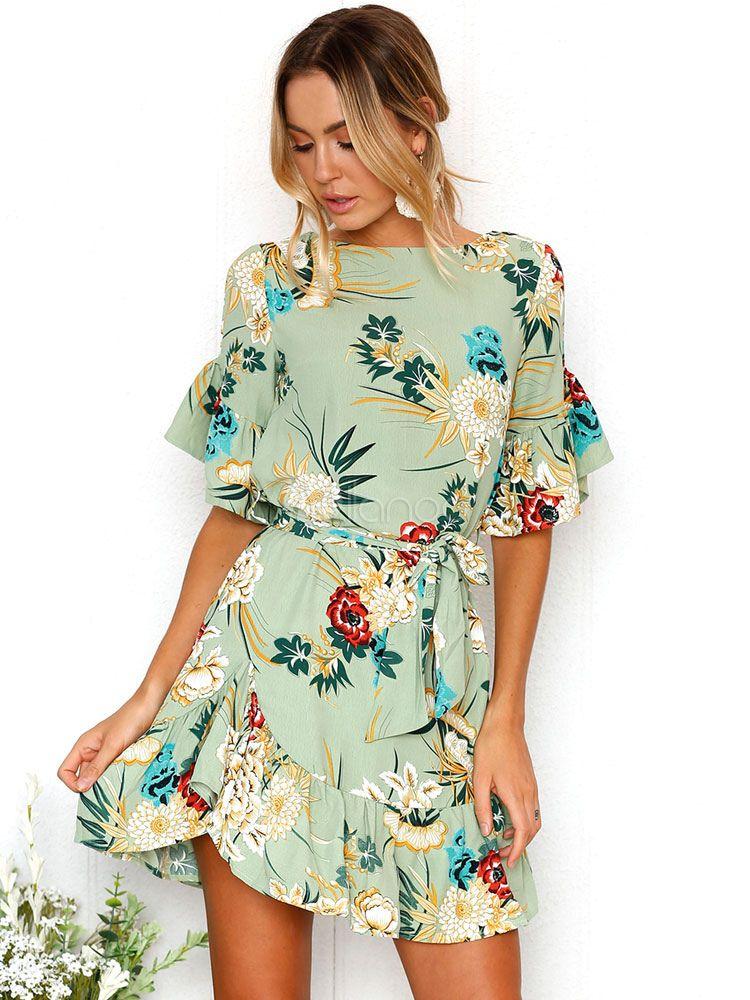 37ca7d1cb7 Women Summer Dress Half Sleeve Chiffon Ruffles Printed Mini Dress in ...