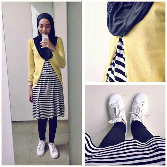Syaifiena W - Adidas Sneakers, H&M Dress, Uniqlo Jeans - Black & Yellow
