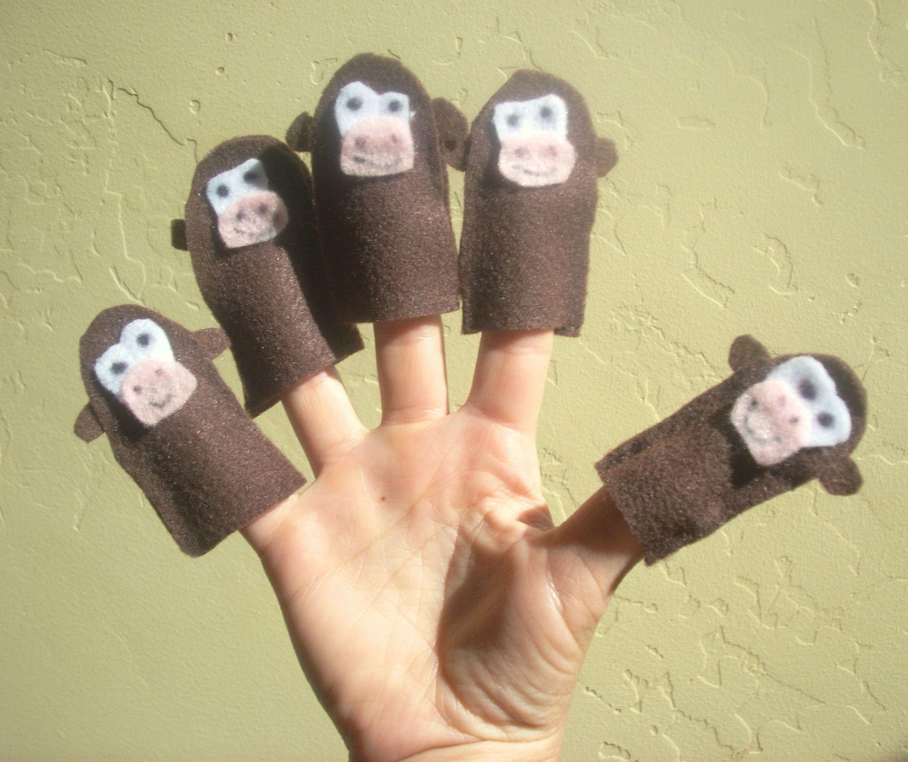 5 Little Monkeys Finger Puppets | Kid Crave | Finger puppet