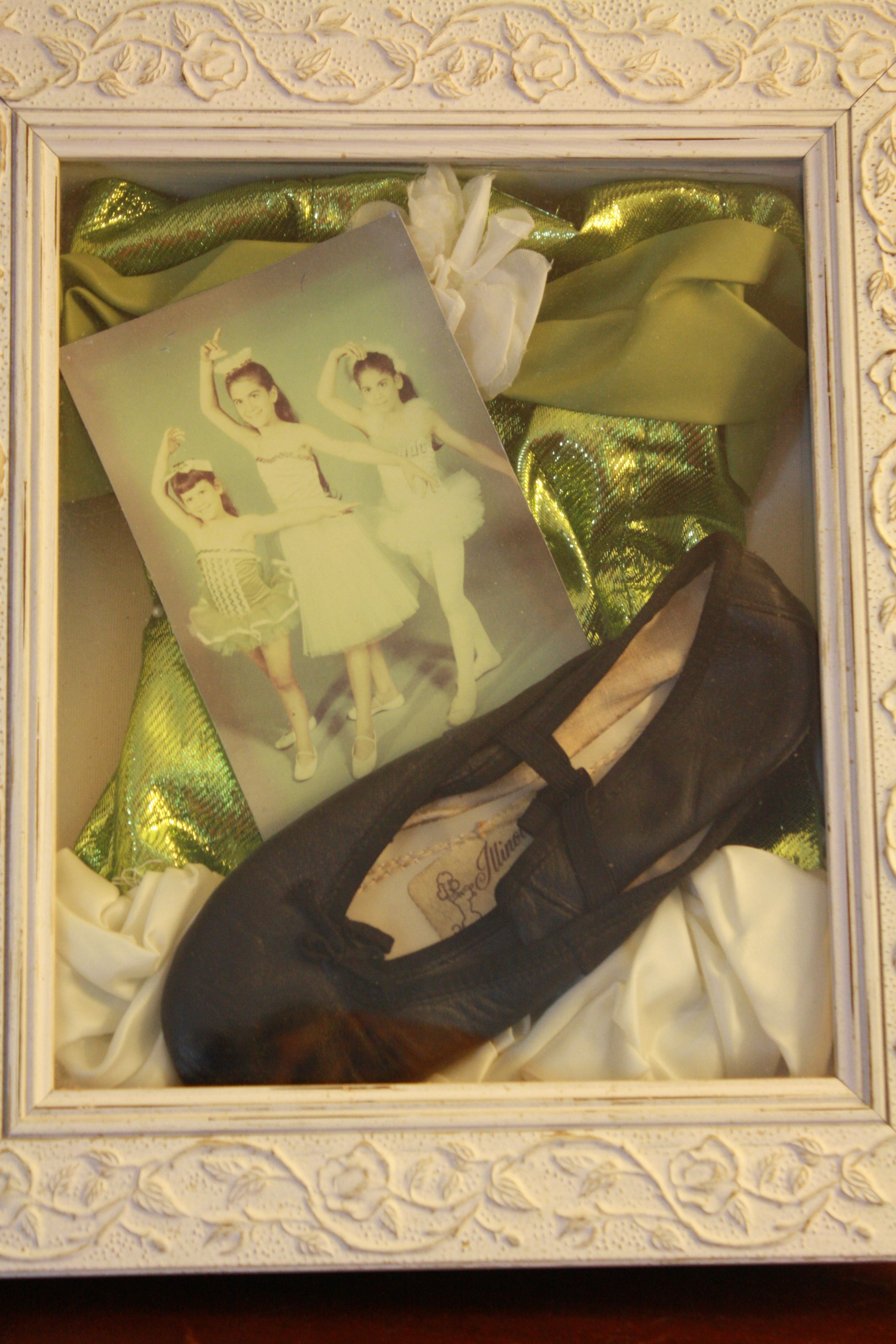 Shadow box of an old dance recital costume, ballet shoes, & photo   #shadow box #costumes #old photographs #vintage #DIY #decorating with old clothes #memorabilia #family photos #Jill Soghomonian CID