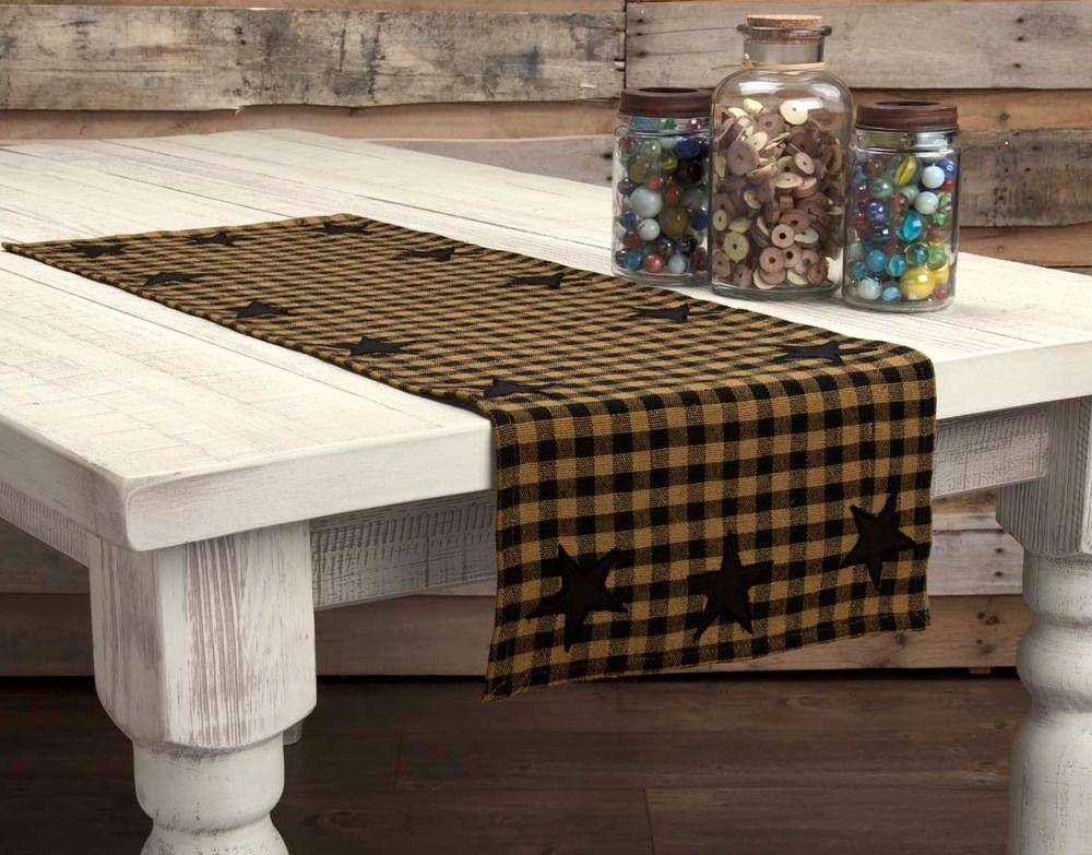 Primitive Black Star Appliqued Table Runner 36 Country Farmhouse Rustic Cotton Vhc Primitive Decorating Primitive Tables Country Primitive