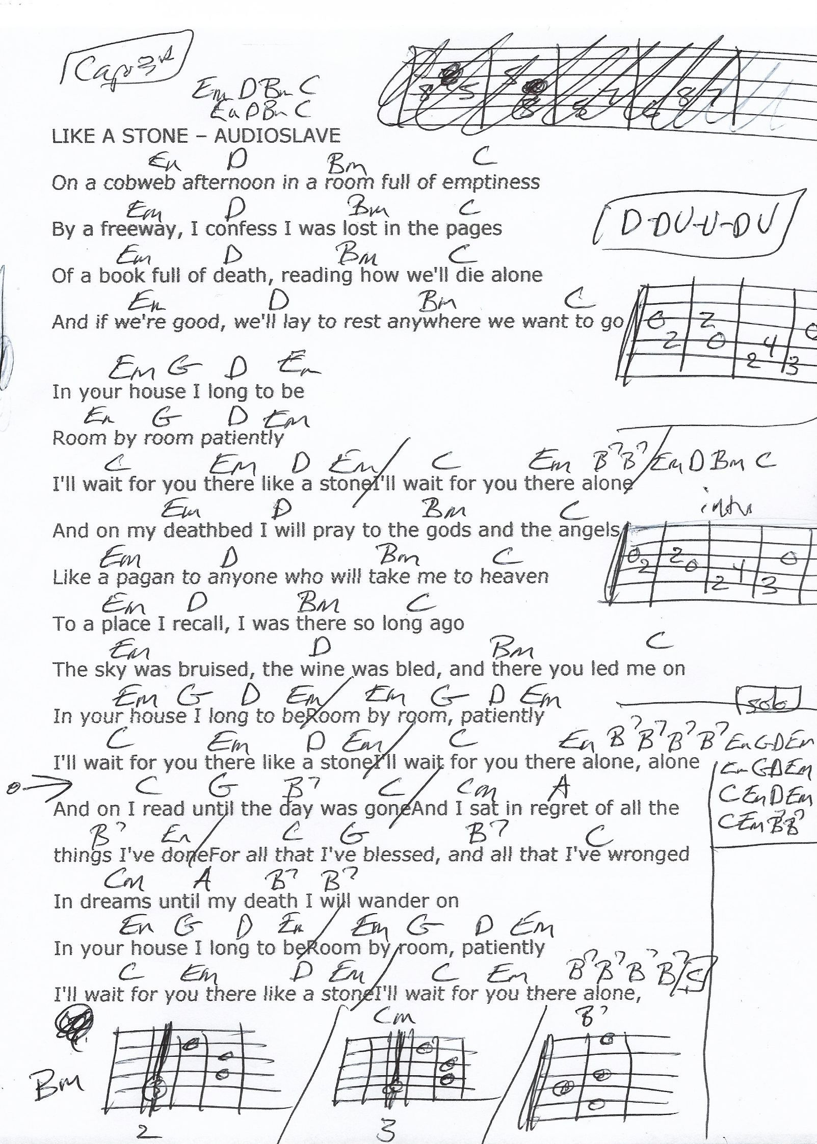 Audioslave Like A Stone Chord : audioslave, stone, chord, Stone, (Audioslave), Guitar, Chord, Chart, Chords,, Chart,, Songs