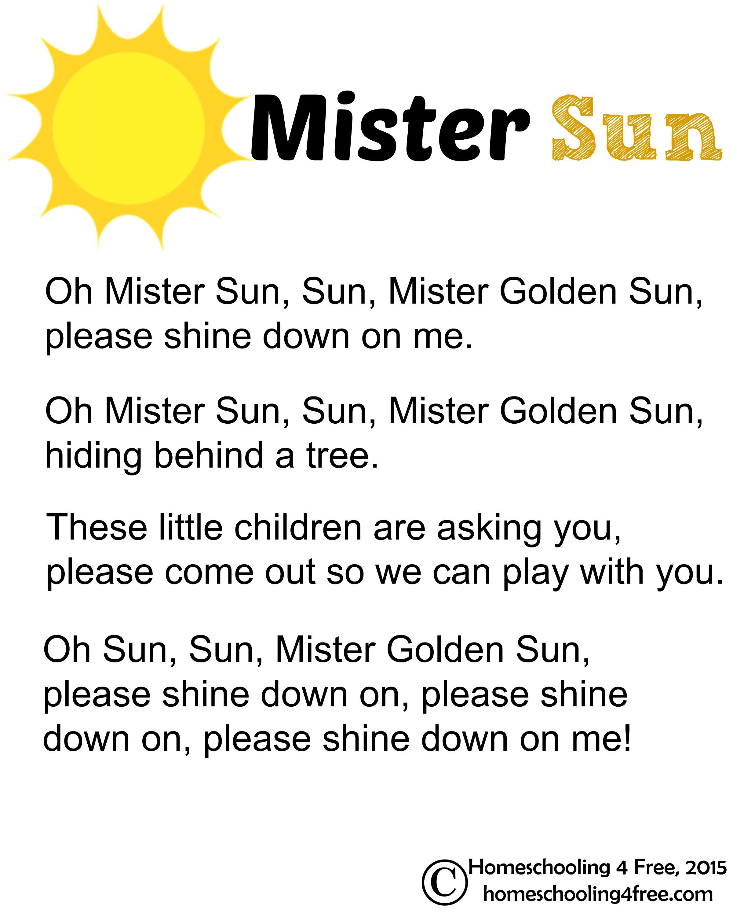 Mister Sun Printable Lyrics