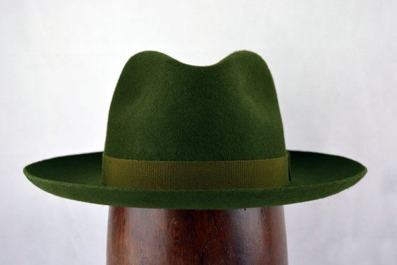 f60f2346eba Forest Green Western Fedora - Wide Brim Pure Wool Felt Handmade Fedora Hat  - Men Women