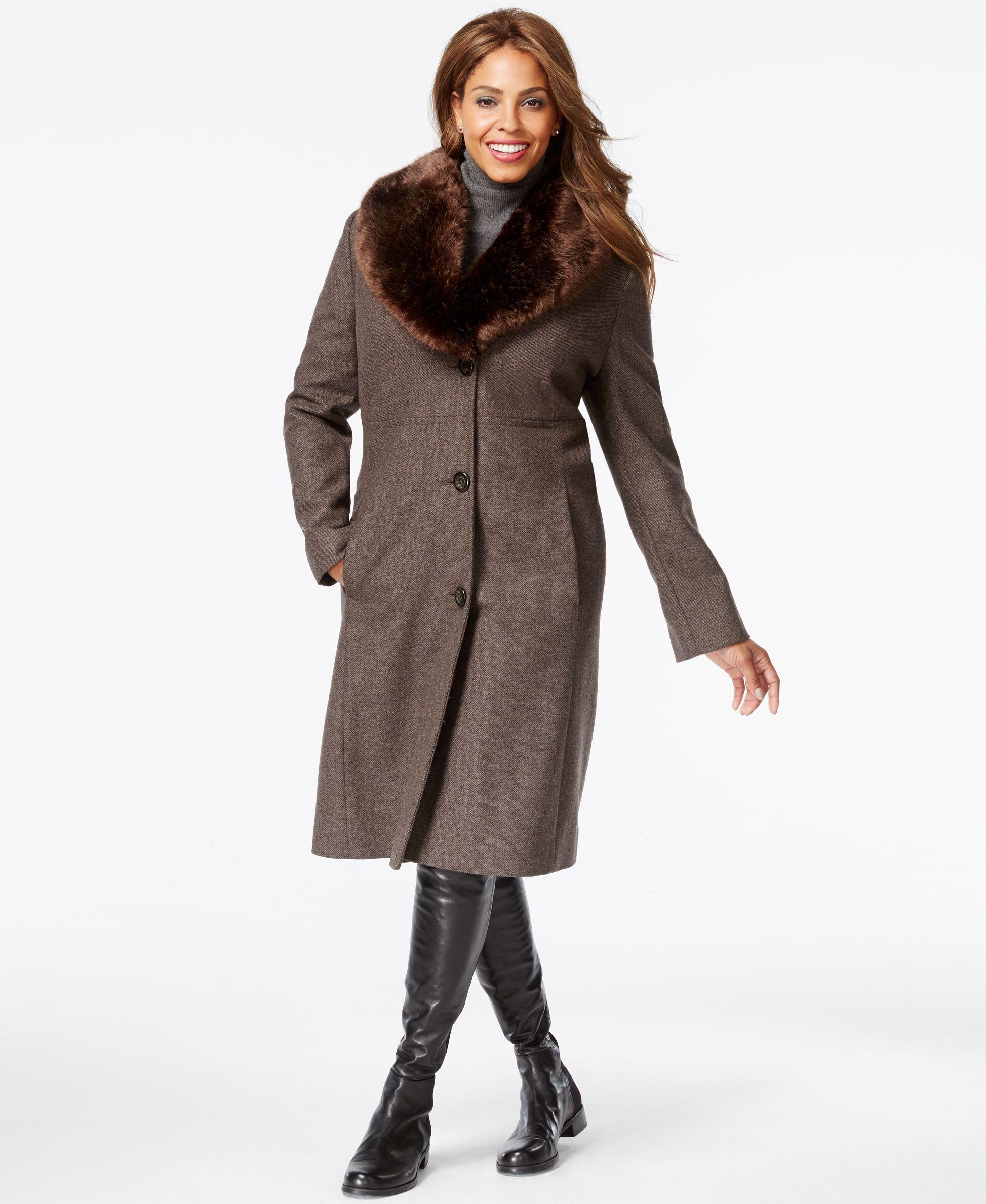 1d9dfea20947f Jones New York Plus Size Faux-Fur-Collar Herringbone Walker Coat ...