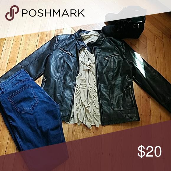Faux Leather jacket Black faux leather jacket. Worn less then 5 times. Jackets & Coats