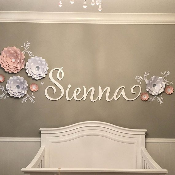 Wooden Name Sign Nursery Painted Wood Wall