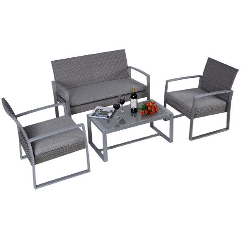 Goplus® Durable 4pc Patio Furniture Set Cushioned Outdoor Wicker Rattan Garden Lawn Sofa