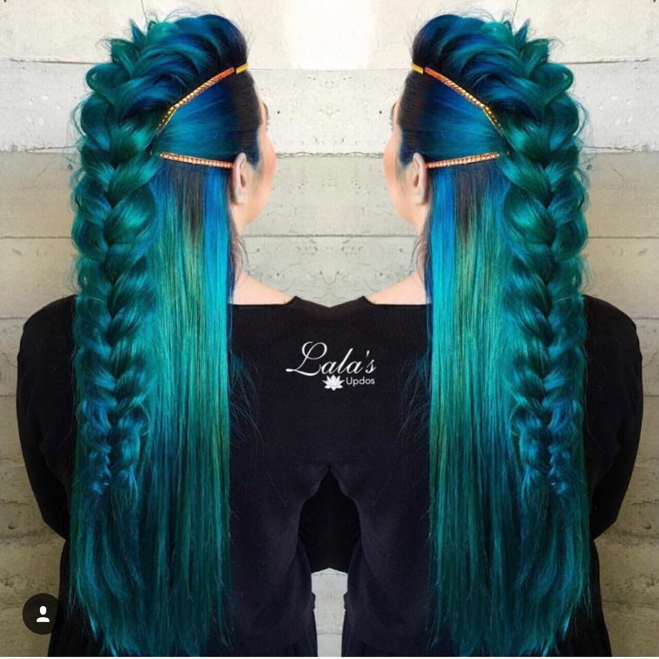 Loose Braid Streaks Ombre Royal Blue Black Emerald