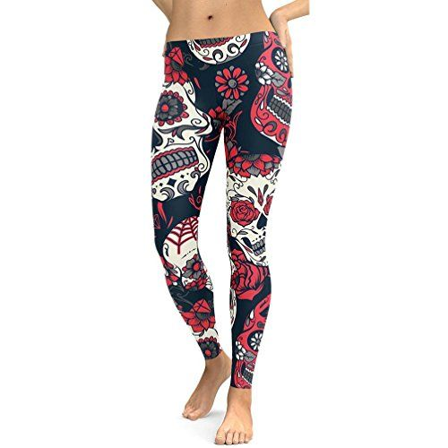ARINLA Womens Skull Printed Yoga Capris Pants Workout Fitness Leggings   Size Modified   c39071acb1d