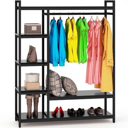 Free Standing Closet Organizer Tribesigns Heavy Duty Clothes Closet Portable Garment Rack With 6 Tier Shelves And Hanging Rod White Walmart Com Free Standing Closet Standing Closet Shelves In Bedroom
