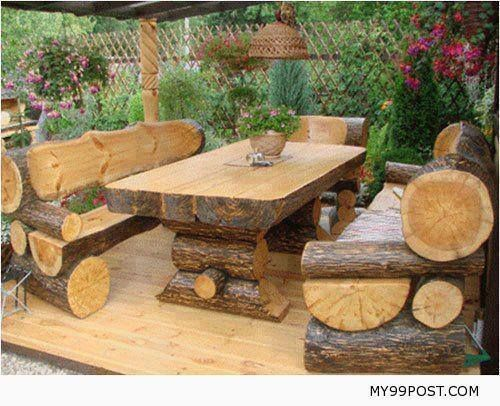 diy outdoor log furniture. Rustic Outdoor Log Table And Benches Diy Furniture A