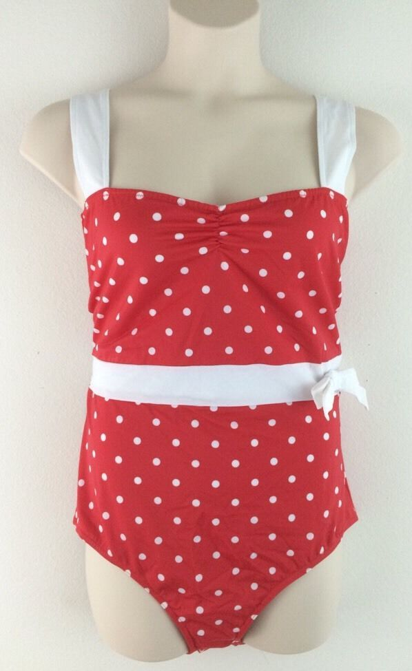 NWT 2x ASOS CURVE Red Polka Dot Retro Style One Piece Swimsuit 20 #ASOS #OnePiece