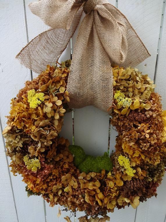 Photo of Hydrangea Wreath  Autumn Wreath Squirrel Wreath  Wreath For Door  Fall Wreath  Door Decorations   Hostess Gift  Elegant Wreath Yarrow Wreath