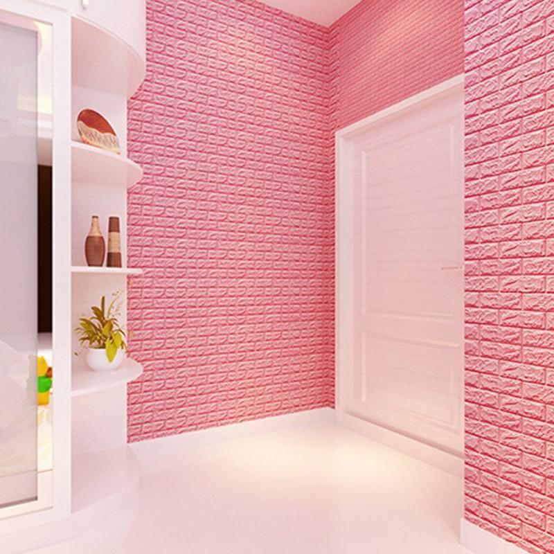 3D Wall Stickers PE Foam Wall Decor Embossed Brick Stone Wallpaper ...