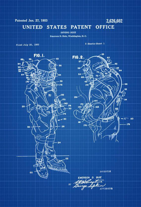 Diving Suit Patent - Patent Print, Wall Decor, Diver Gift ...