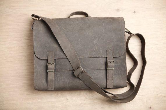 Mens Satchel Bag Gray Briefcase Student Backpack For Men