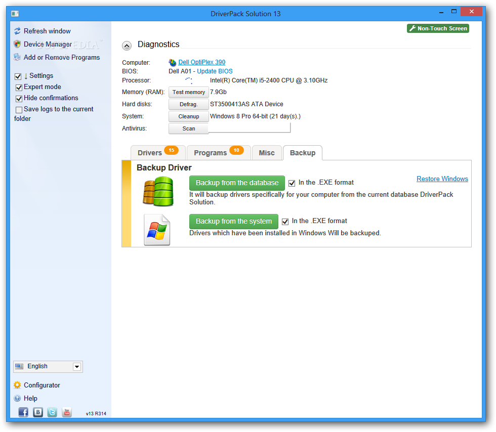 DriverPack Solution 15 user interface | Softwares