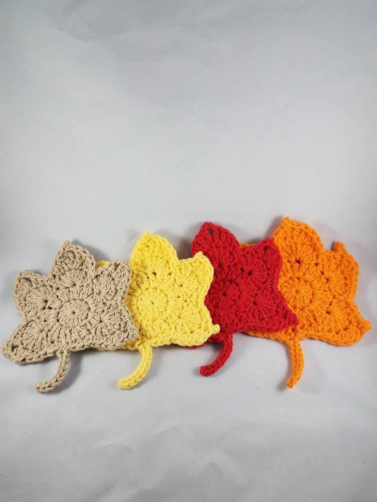 Coasters - crochet coasters - crochet fall coasters - leaf coasters ...