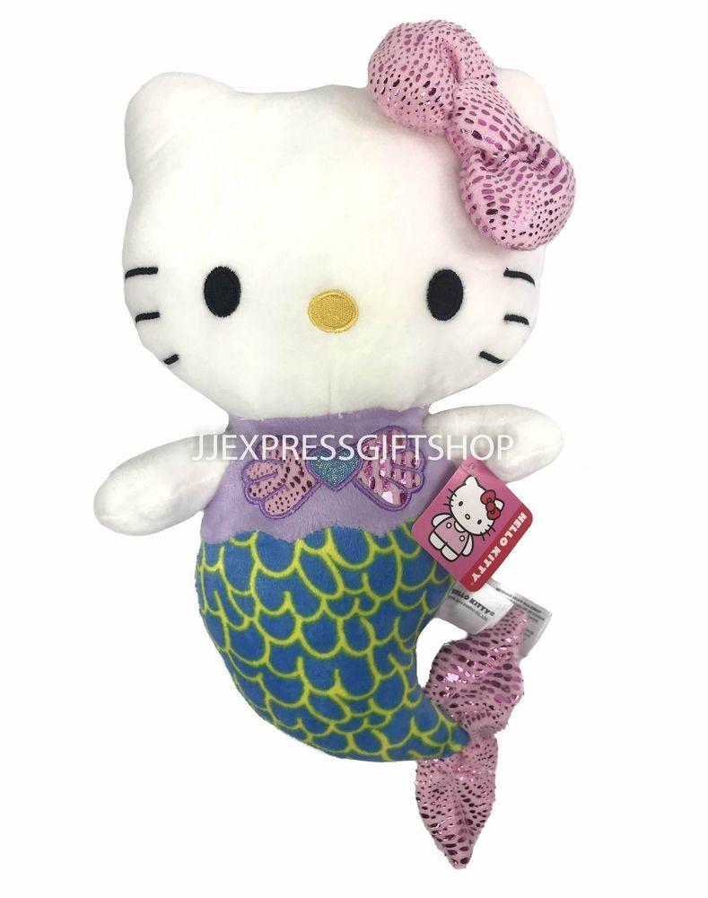 "b5a15a349 NEW LICENSED SANRIO Hello Kitty Mermaid Medium 14"" Plush, Soft Plush Toy"
